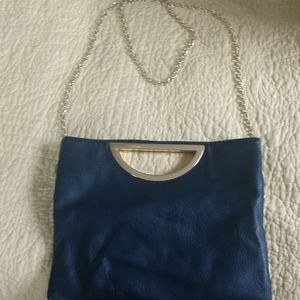 Small navy and gold purse
